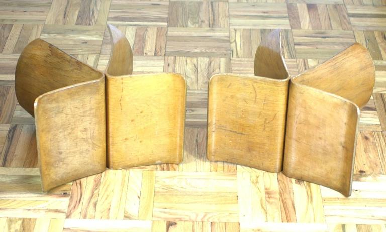 Mid-20th Century Pair of Sori Yanagi Butterfly Stools For Sale