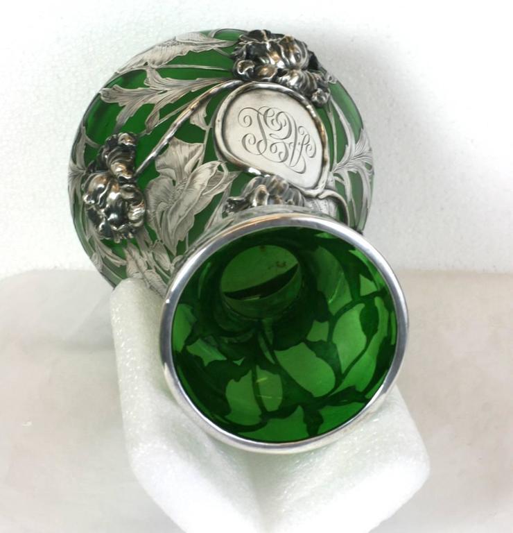 Exceptional Art Nouveau 3D Silver Overlay Vase, Alvin Mfg For Sale 2