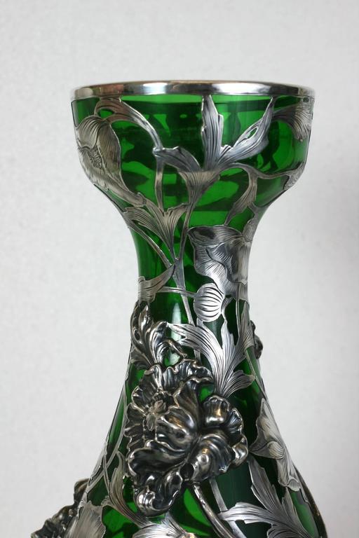 Exceptional Art Nouveau 3D Silver Overlay Vase, Alvin Mfg For Sale 3