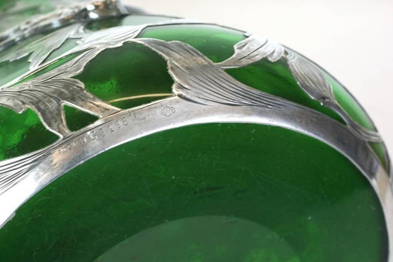 Exceptional Art Nouveau 3D Silver Overlay Vase, Alvin Mfg For Sale 4