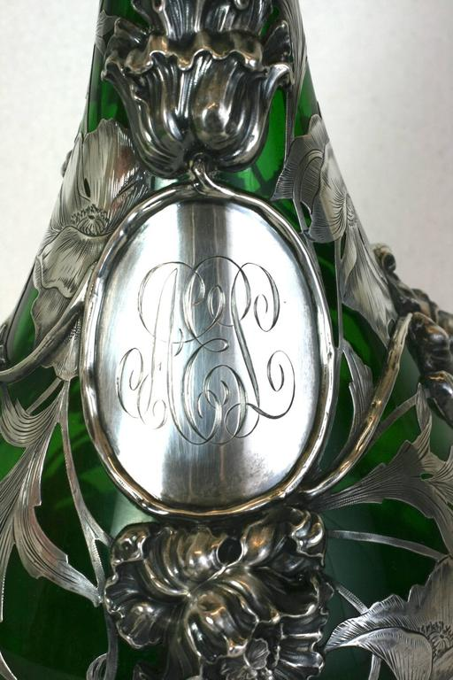 Late 19th Century Exceptional Art Nouveau 3D Silver Overlay Vase, Alvin Mfg For Sale