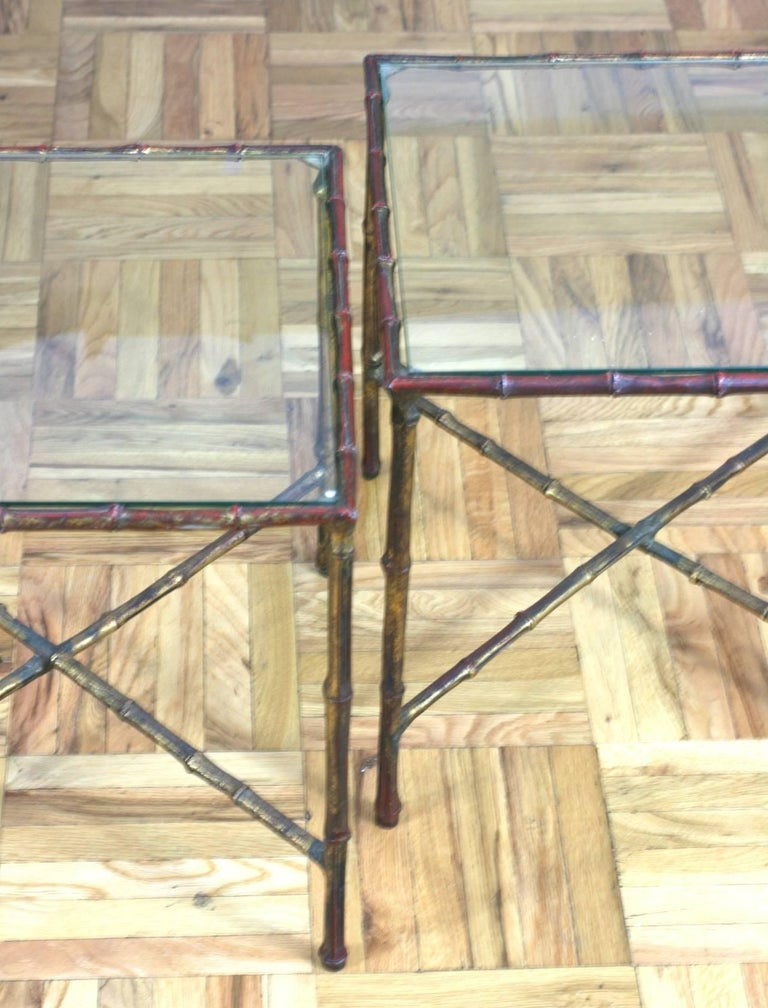 Pair of Faux Bamboo End Tables In Good Condition For Sale In Riverdale, NY