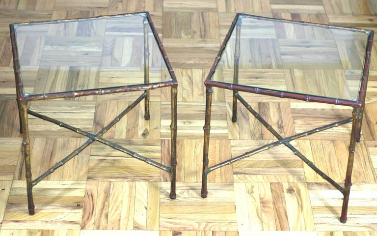 Gilt Pair of Faux Bamboo End Tables For Sale