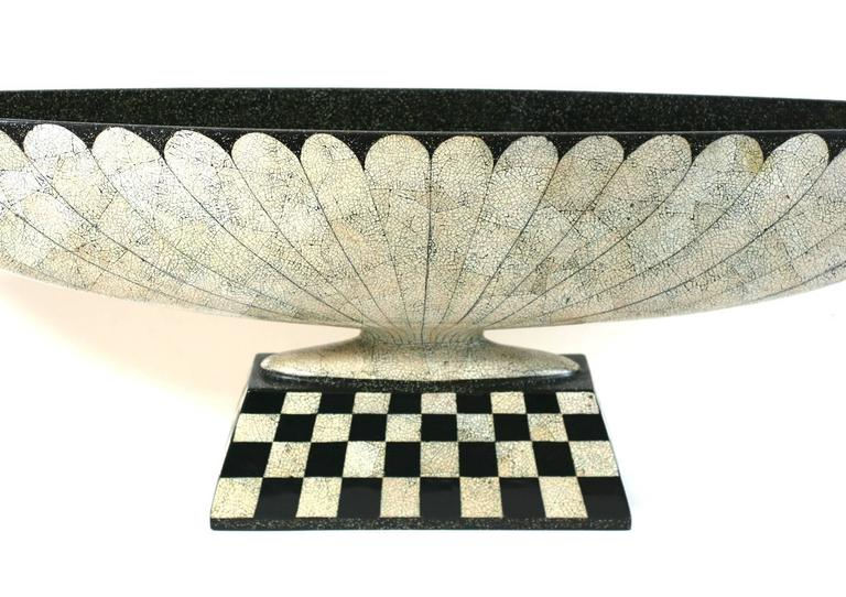 Lacquered Art Deco Revival Lacquer and Eggshell Tazza For Sale