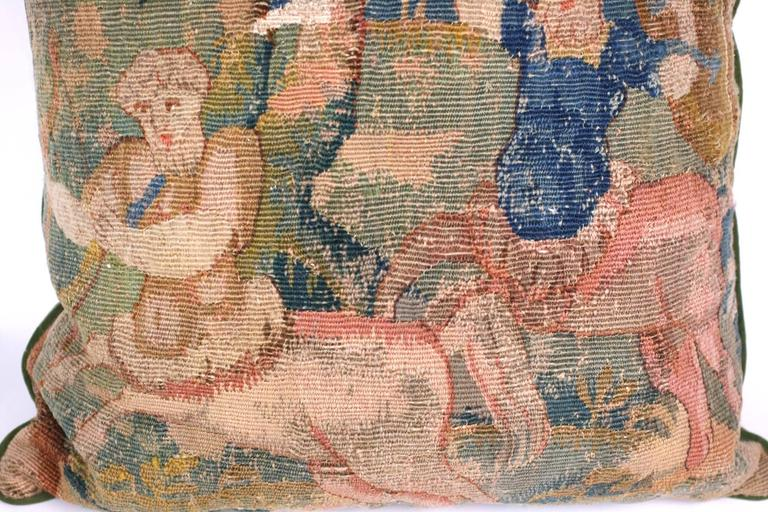 Aubusson Tapestry Cushion of Battling Satyrs In Excellent Condition For Sale In Riverdale, NY