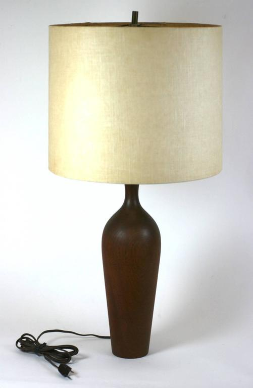 North American Elegant Turned Wood Lamp For Sale