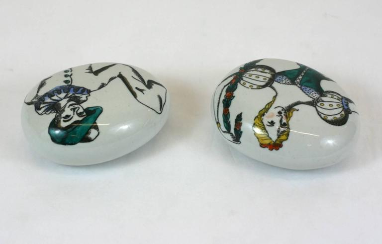 Mid-Century Modern Fornasetti Commedia dell'Arte Paperweights For Sale