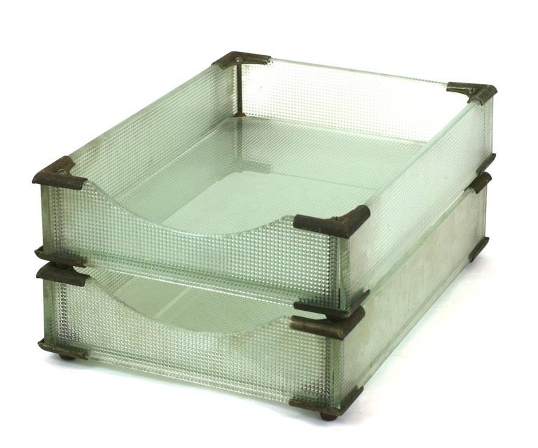 North American Art Deco Glass Letter Holders For Sale