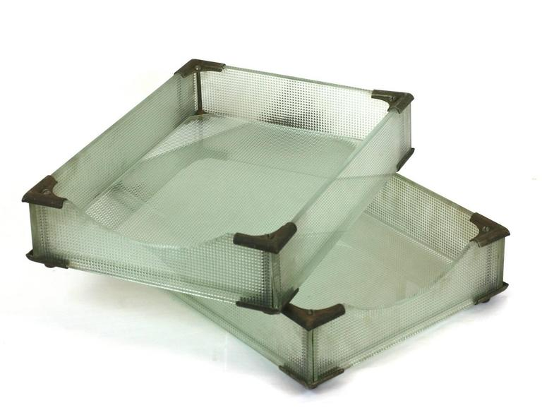 Attractive Art Deco glass paper holders in waffled sea green glass with slightly rusted Industrial corner fittings,1930s, USA. Measure: 10.5