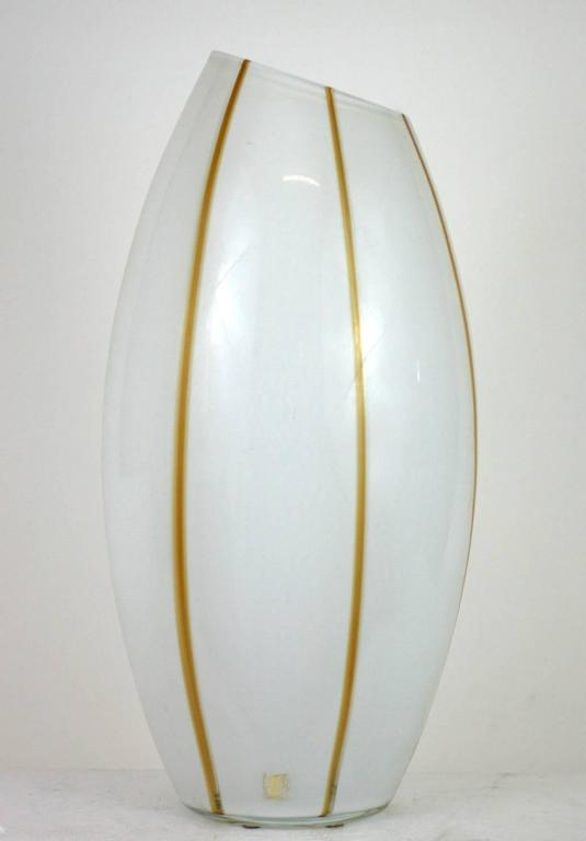 Seguso White And Caramel Stripe Glass Vase For Sale At 1stdibs