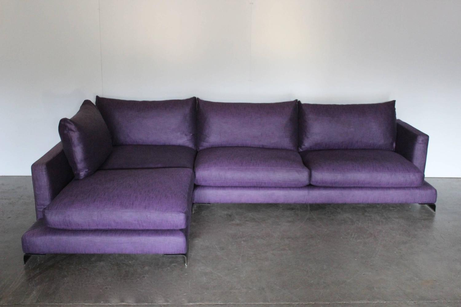 flexform long island l shape sofa in purple and black linen for sale at 1stdibs. Black Bedroom Furniture Sets. Home Design Ideas