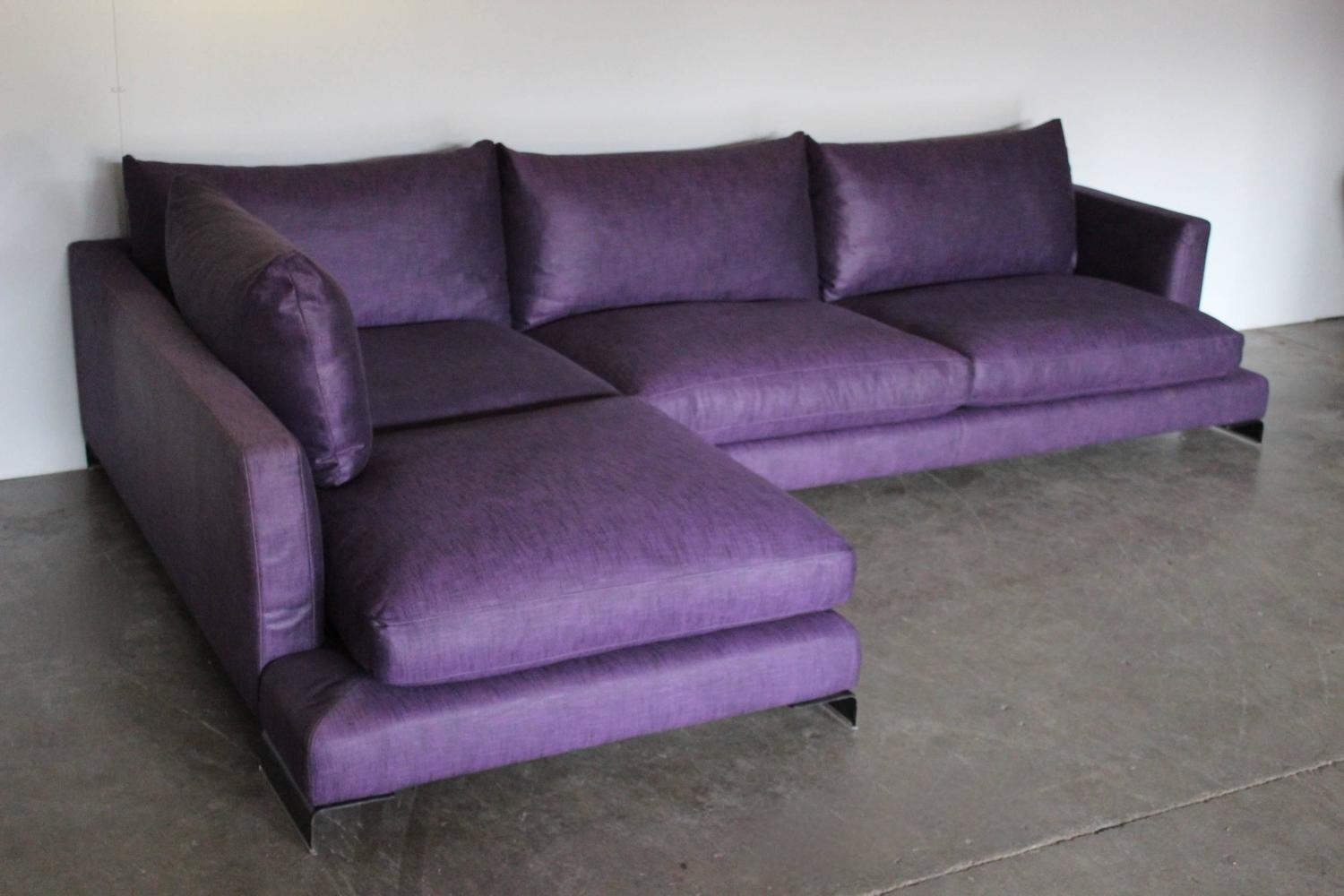 Flexform long island l shape sofa in purple and black for Deep couches for sale