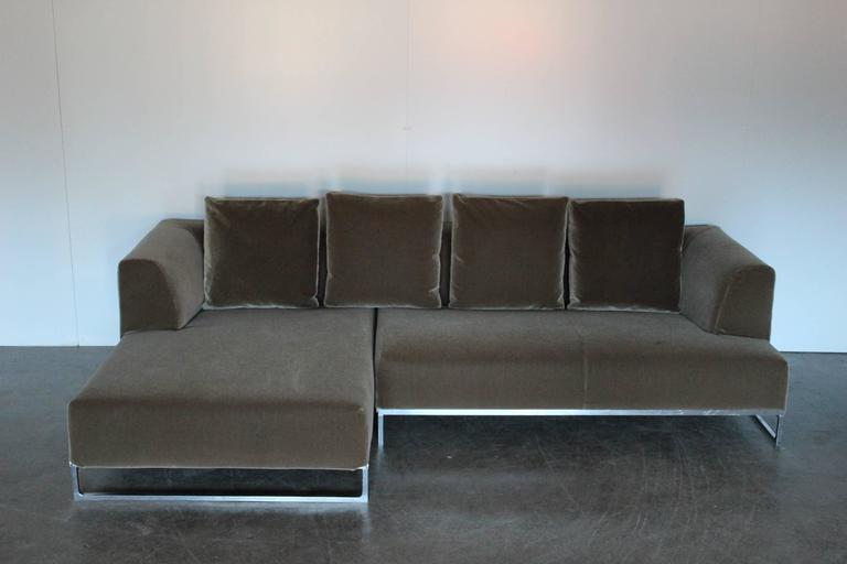 Bb italia quotsoloquot l shape sofa in moss green mohair velvet for Moss green sectional sofa