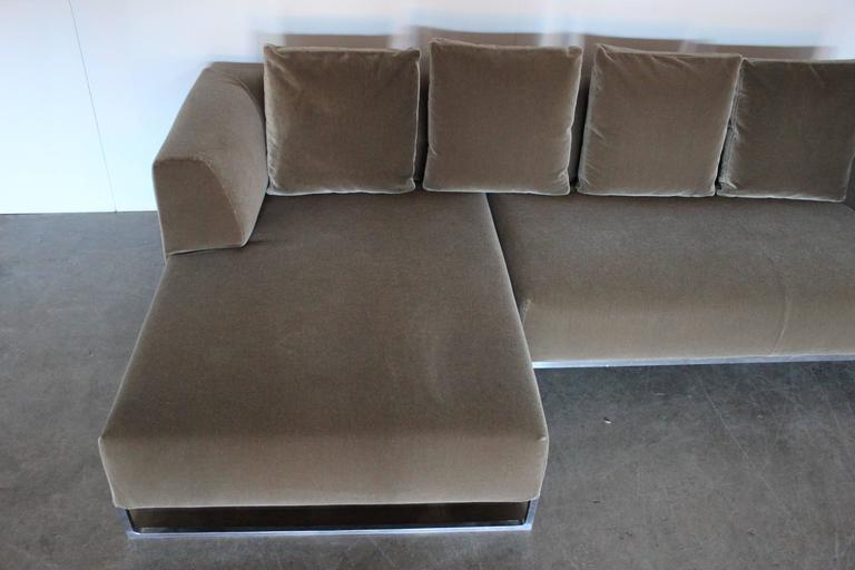 B Amp B Italia Quot Solo Quot L Shape Sofa In Moss Green Mohair Velvet