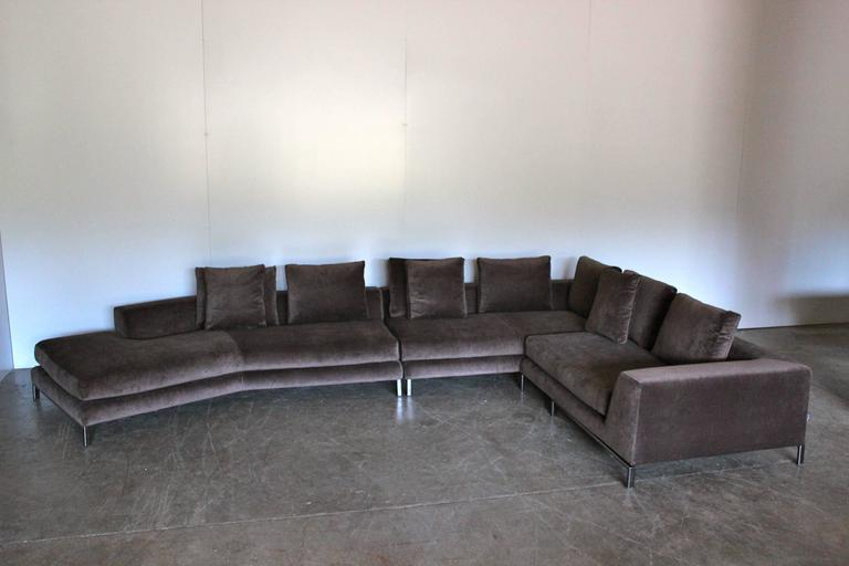Beau Modern Minotti U201cAllenu201d Sectional L Shape Sofa In Taupe Brown Velvet By  Rodolfo