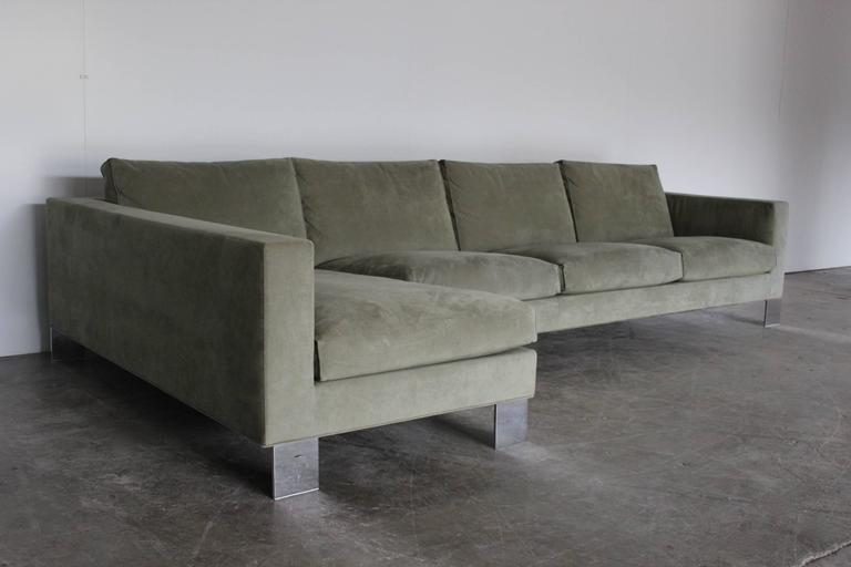 minotti pollock four seat l shape sofa in salvia alcantara rodolfo dordoni for sale at 1stdibs. Black Bedroom Furniture Sets. Home Design Ideas