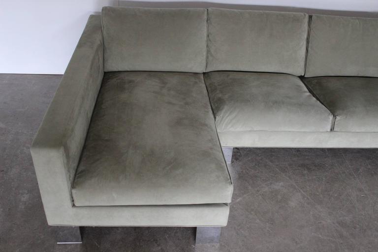 Minotti Pollock Four Seat L Shape Sofa In Salvia