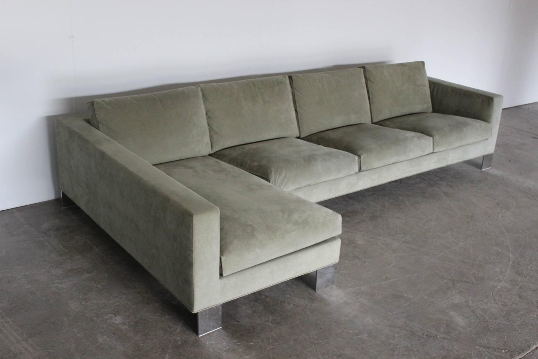 minotti pollock four seat l shape sofa in salvia alcantara rodolfo dordoni for sale at 1stdibs. Black Bedroom Furniture Sets. Home Design Ideas