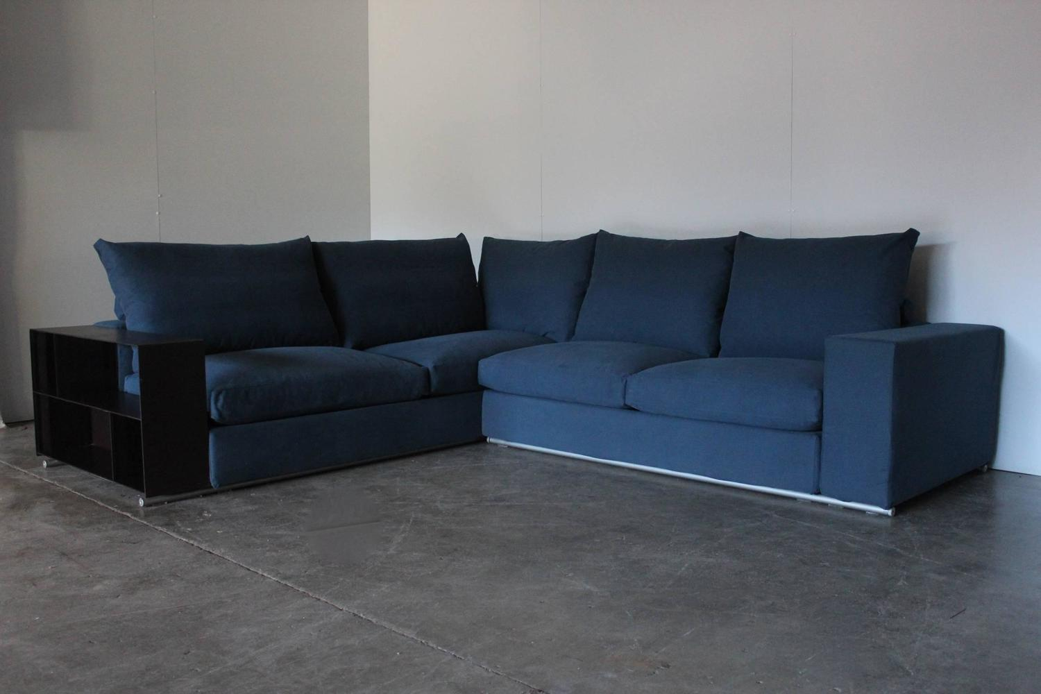 flexform groundpiece sectional l shape sofa in blue linen by antonio citterio for sale at 1stdibs. Black Bedroom Furniture Sets. Home Design Ideas