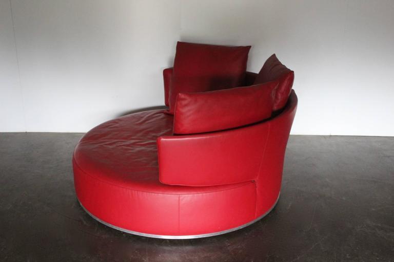 Circular Leather Ottoman