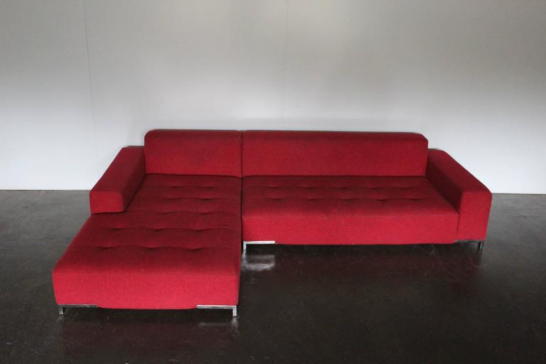 Zanotta Quot Kilt 1242 Quot L Shape Sofa In Woven Red And Black Fabric By Emaf Progetti For