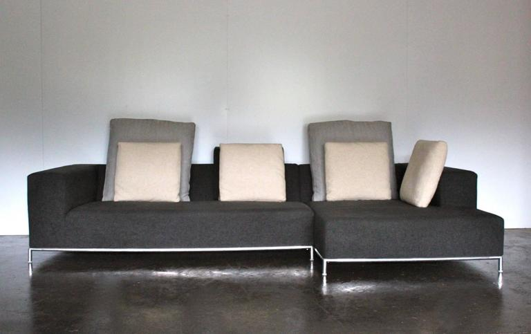 b and b italia george compact l shape sofa in dark grey linen antonio citterio at 1stdibs. Black Bedroom Furniture Sets. Home Design Ideas