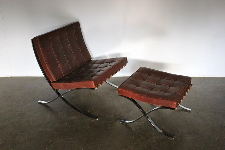 knoll studio barcelona lounge chair and ottoman suite in brown saddle leather for sale at. Black Bedroom Furniture Sets. Home Design Ideas