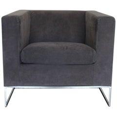 "Minotti ""Klee"" Armchair in Grey Alcantara"