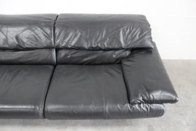 "B&B Italia ""Alanda"" Two-and-a-Half-Seat Sofa in Black Leather by Paolo Piva 10"