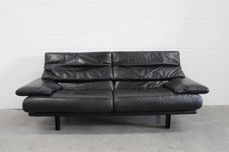 "B&B Italia ""Alanda"" Two-and-a-Half-Seat Sofa in Black Leather by Paolo Piva 2"