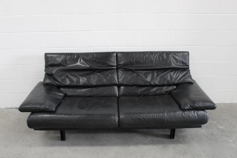 "B&B Italia ""Alanda"" Two-and-a-Half-Seat Sofa in Black Leather by Paolo Piva 5"