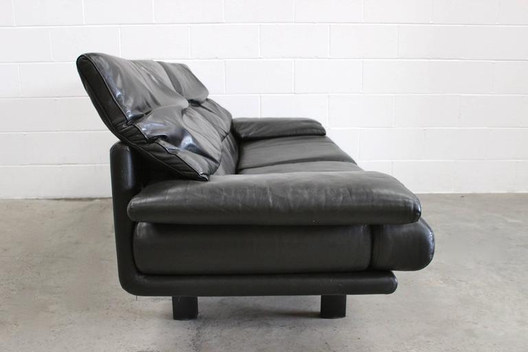 "B&B Italia ""Alanda"" Two-and-a-Half-Seat Sofa in Black Leather by Paolo Piva 8"