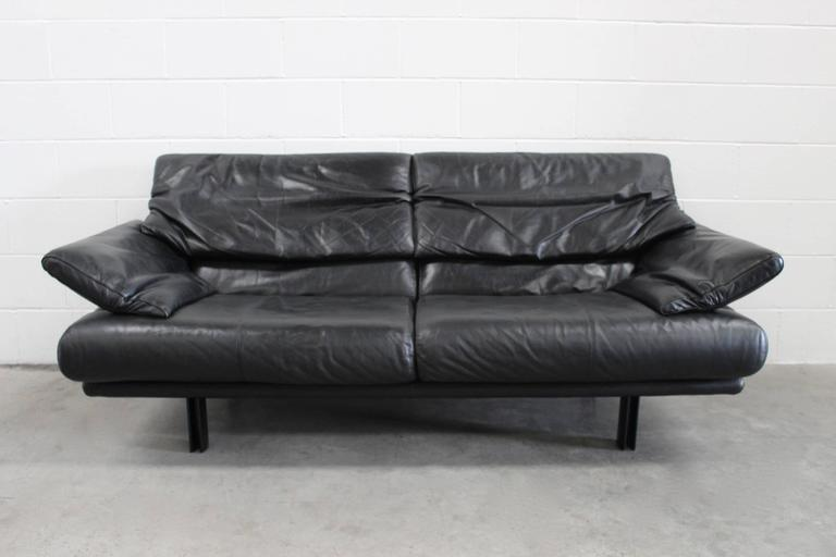 "B&B Italia ""Alanda"" Two-and-a-Half-Seat Sofa in Black Leather by Paolo Piva 3"