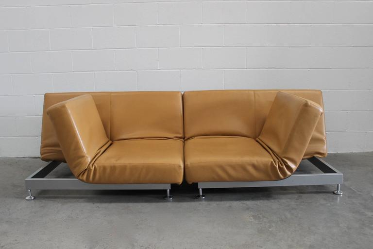 "Modern Pair of Edra ""Damier"" Sofa or Chaise Units in Tan Leather by Francesco Binafare"