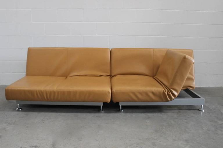 "Hand-Crafted Pair of Edra ""Damier"" Sofa or Chaise Units in Tan Leather by Francesco Binafare"