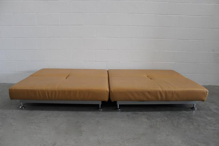 "Pair of Edra ""Damier"" Sofa or Chaise Units in Tan Leather by Francesco Binafare In Excellent Condition In Whalley, GB"