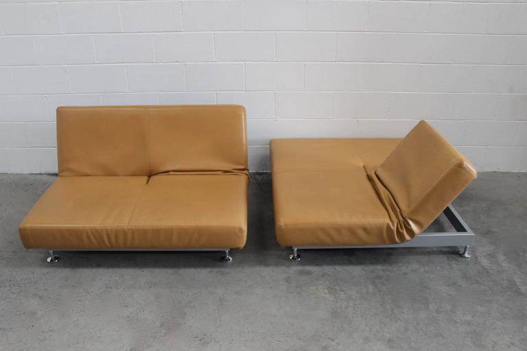 "Pair of Edra ""Damier"" Sofa or Chaise Units in Tan Leather by Francesco Binafare 1"