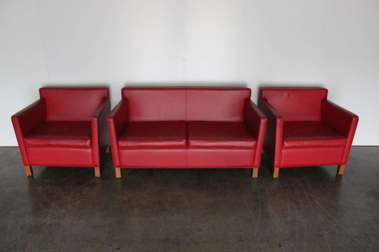 knoll studio krefeld sofa and armchairs in red leather by mies van der rohe for sale at 1stdibs. Black Bedroom Furniture Sets. Home Design Ideas