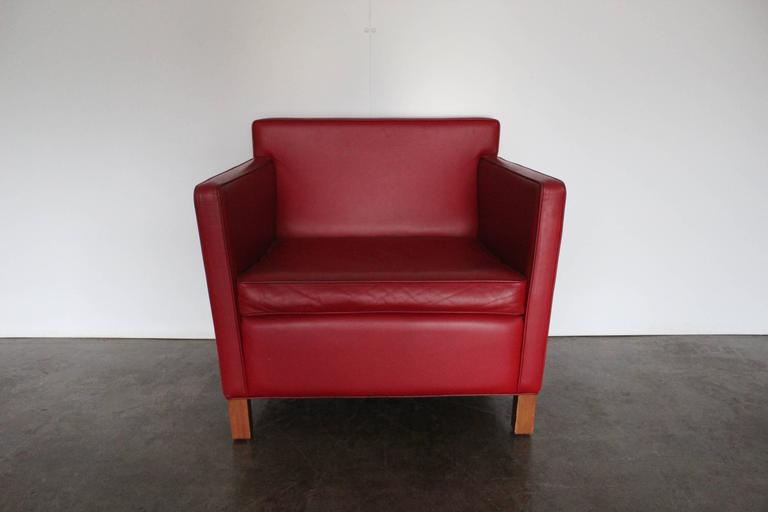 """Knoll Studio """"Krefeld"""" Sofa and Armchairs in Red Leather by Mies Van Der Rohe For Sale at 1stdibs"""