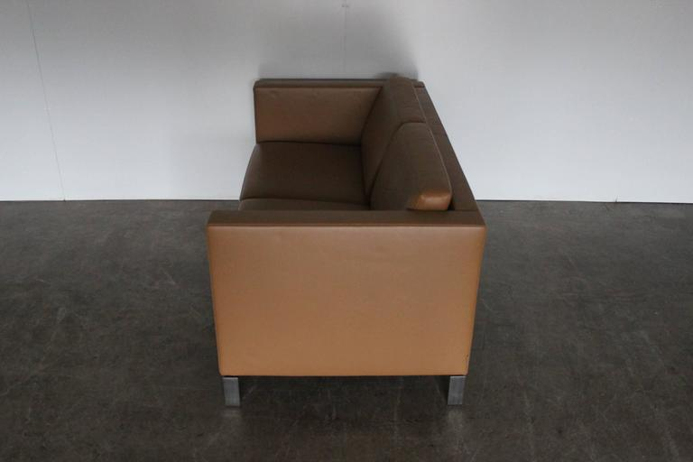 walter knoll foster two seat sofa in pale leather. Black Bedroom Furniture Sets. Home Design Ideas