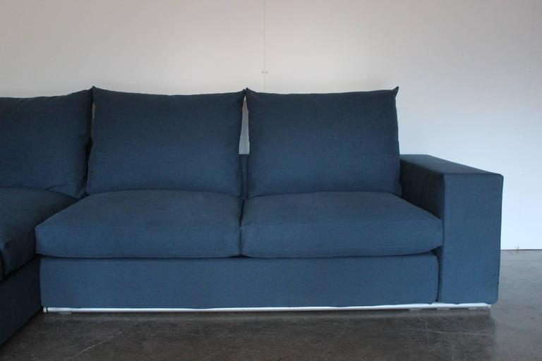 Flexform Groundpiece Sectional L Shape Sofa In Blue