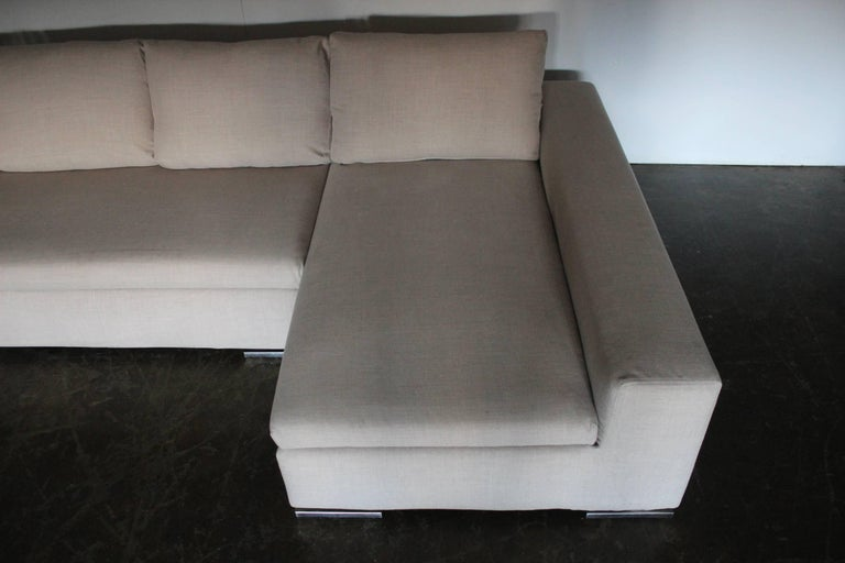 Minotti Moore Four Seat L Shape Sofa In Pale Natural