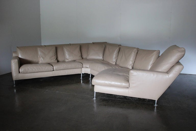 "Italian B&B Italia ""Harry"" Six-Seat L-Shape Sofa & Ottoman in Pale-Brown ""Gamma"