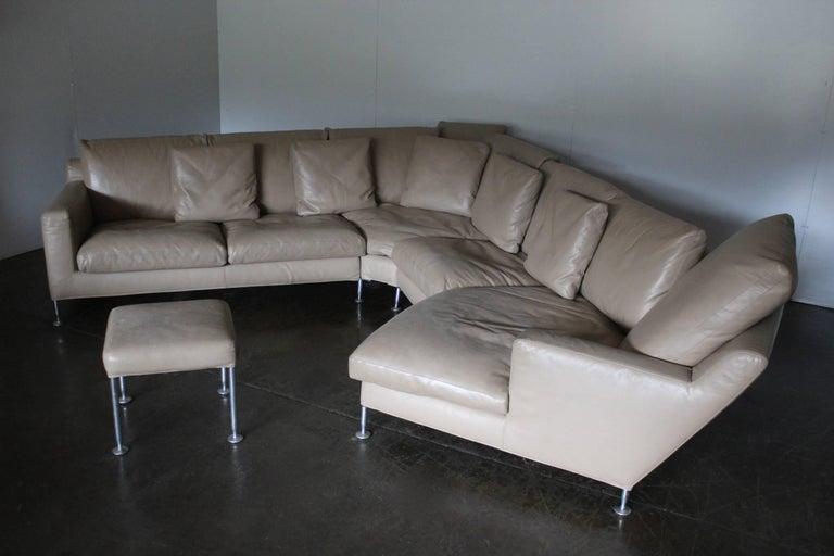 B B Italia Harry Six Seat L Shape Sofa And Ottoman In Pale Brown