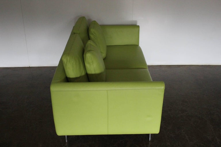 """Contemporary Pair of Walter Knoll 2.5-Seat Sofa in Pristine Lime-Green """"Pelle"""" Leather"""