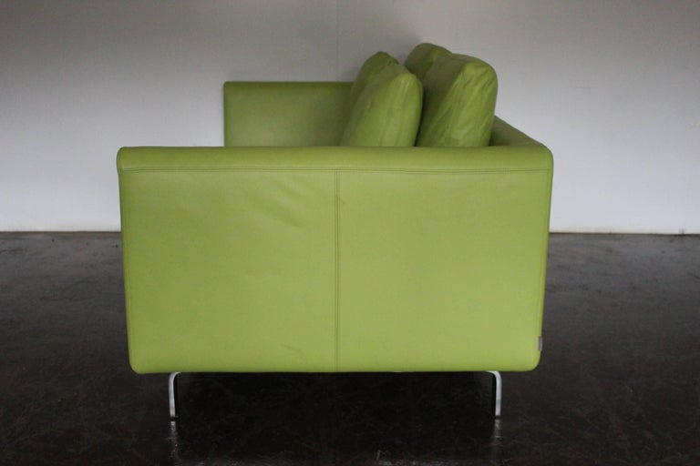 """Metalwork Pair of Walter Knoll 2.5-Seat Sofa in Pristine Lime-Green """"Pelle"""" Leather"""