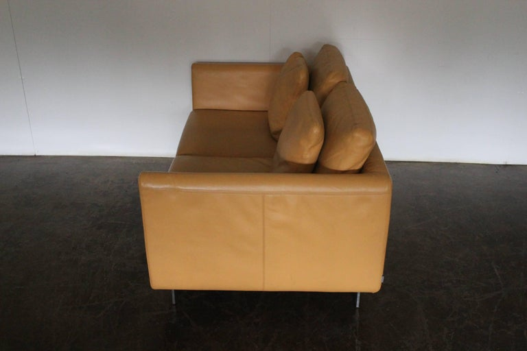 Pair of Walter Knoll Two-Seat Sofas in Pristine Pale-Tan Leather 1