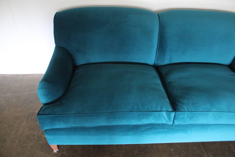 George Smith Signature Standard Arm Sofa In Teal Green