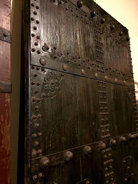 Solid Single Panel Chinese General S Door With Iron Works