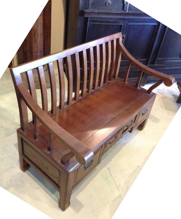 Solid Wood Asian Settee or Bench 2
